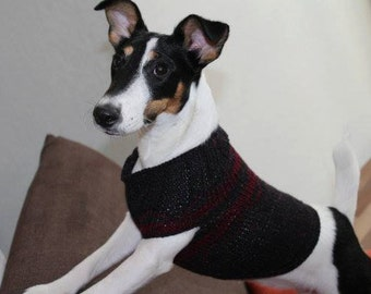 Dog's Sleeveless Sweater, Hand Knit, Black with Red Decoration Jumper, Warm Pullover, Cat slip-over