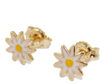 Daisy Flower Stud Earrings 18k Gold Plated  - Flower Stud Earring 18k Gold Plated