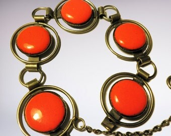 Vintage Link Bracelet with Round Panels in Orange Enamel 1970