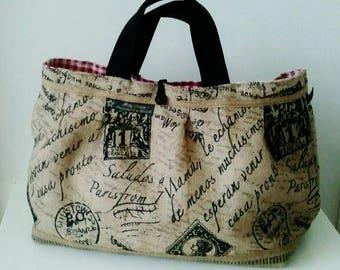 Handmade summer jute bag, handbag, insaide with oilcloth,
