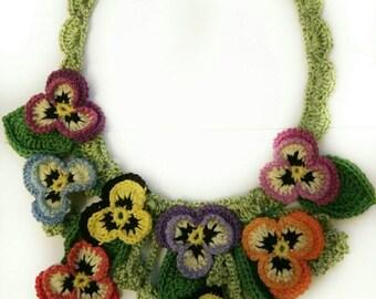 Statement necklace, Boho chic necklace, crochet necklace, pansy necklace, floral necklace, spring necklace, OOAK, unique gift