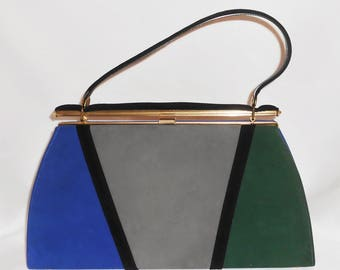 Vintage 60s Mar-Shel Purse Mod Go-Go Colorblock Royal Blue Gray Green Gold Handbag