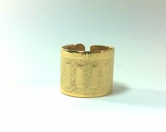 Gold Ring,Printed Gold Ring,Gold Band Ring,Golden Ring,Women Ring,Women gift,Printed Ring,Handcraft Ring,St Valentine gift,Printed Band Ring