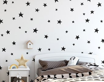 Star Wall Decals - Cute Hand Drawn Star Decals, Nursery Wall Decals, Star Wall Stickers, Removable Wall Decals, Kids Room Decals