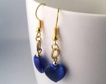 Cobalt blue earrings, earrings cobalt blue, blue earrings, blue dangle earrings, blue drop earrings, blue beaded earrings, heart earrings