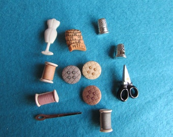 Vintage Sewing Room Buttons Dress it up