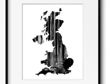 Great Britain and Northern Ireland Black and White Watercolor Map Art Print (899) United Kingdom