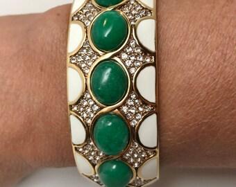 Ciner Clear Crystal Pave, Aventurine Cabochons & Enamel Bangle Hinge Bracelet