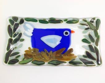 Bluebird nest fused glass tray