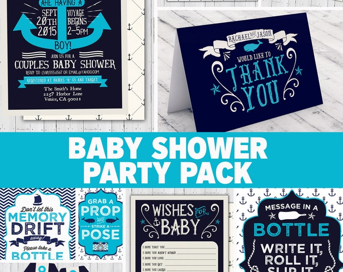 Nautical Baby Shower Invitation - Ahoy It's A Boy - DIY - Coed shower - Personalized invitation- Baby Shower invitation, couples shower