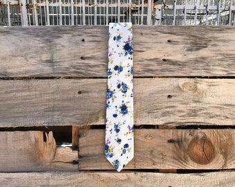 White and Blue Floral Cotton Neck Tie - jw gifts - jw ministry - jw pioneer gifts - best life ever - jw pioneer - jw org