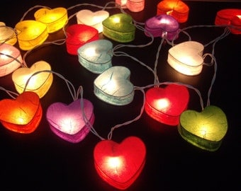 20  Mixed Colourful Love HEART Saa Paper string lights Paper Free Shipping!