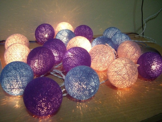 20 Blue Tone Cotton Ball String Lights for Bedroom Baby room