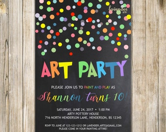 Colorful ART PARTY Invitation, Art Birthday Invite, Paint and Play, Rainbow 10th Birthday, Confetti 5th Birthday, Chalkboard, Painting