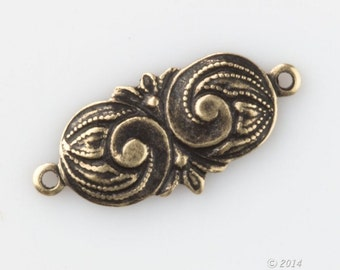 Oxidized stamped brass connectors in Art Nouveau style. 16mm length. Pkg. of 8. B9-0821(e)