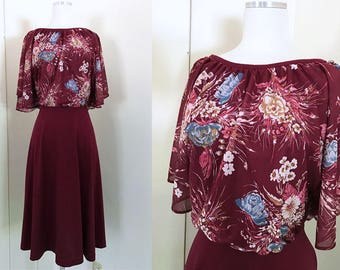 1970s Maroon Burgundy Dark Red Dress with Loose Blouse Top with Blue and Pink Flowers // 70s Red Oxblood Fit and Flare Dress