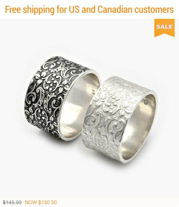 Alternative Silver Wedding Gifts : Set of 2 Alternative wedding rings, 2 Leaf Motif Rings, Silver Wedding ...