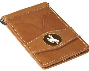 Wyoming Cowboys Tan Leather Wallet Card Holder