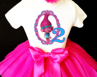 Fast Ship Birthday Trolls Poppy Princess Hot Pink Blue  2nd Second  age 2 Shirt & Tutu Set Girl Outfit Party