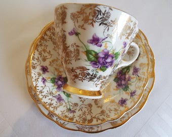 Vintage Tea Cup and Saucer, Gold and White with Violets. Purple Violet Teacup and Cake Plate Trio, Perfect For An Afternoon Tea Party