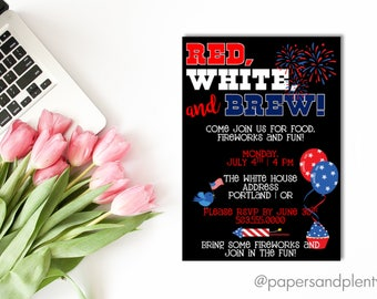 """4th of July """"Red, White & Brew"""" Invite 