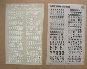 2 rub on letter sheets, transfer decals, Letter-press mecanorma letraset vintage letters