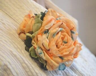 Brooch. Flower brooch. Rose brooch. Brooch made of fabric. Rose brooch. Brooch made of silk. Brooch peach.