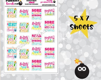 Vinyl Fitness Exercise Workout Removable Planner Stickers