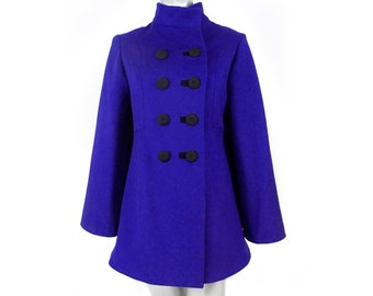 women's tailored coat jacket semi fitted cape jacket with bell sleeves above the knee wool felt handmade buttons color options