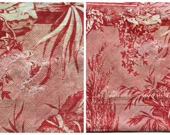 Lot 4) Antique French Toile de Nantes 'CINCINNATUS' 1815 Red garance print finely engraved Atelier Petitpierre remnant, upholstery collector