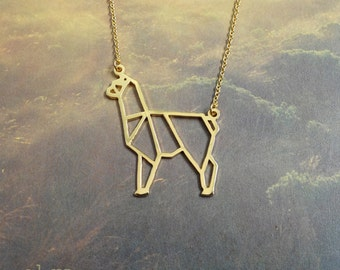 Alpaca, Origami Necklace, Animal Necklace, Alpaca Jewelry, Gold Plated Necklace, Unique Necklace, Gift for her, Gift under 40