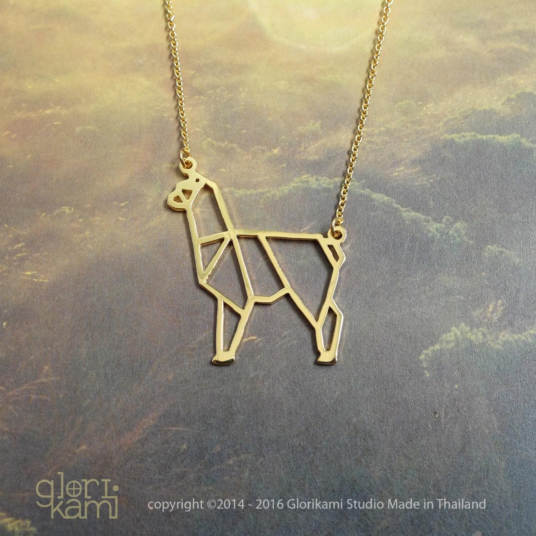 alpaca origami necklace animal necklace alpaca jewelry