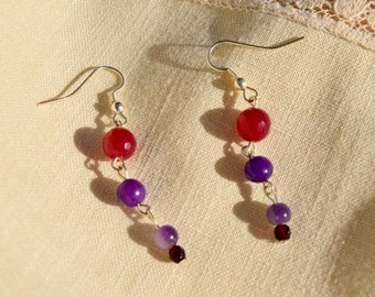 "Amethyst, purple aventurine and red agate dangles.  Approx. 1 1/2""."