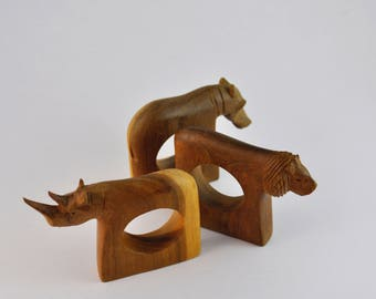 gallerymichel Set of Six Carved African Animal Napkin Rings