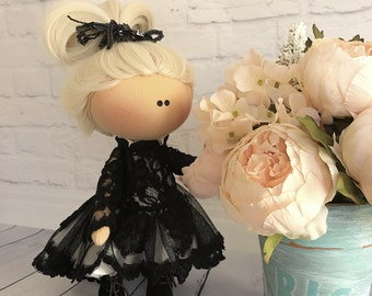 Personalized Handmade Fabric Doll in a Black Lace Evening Dress with Dress Tail, Doll in Black Velour Cape, Little Fashionista, Gift for Mom
