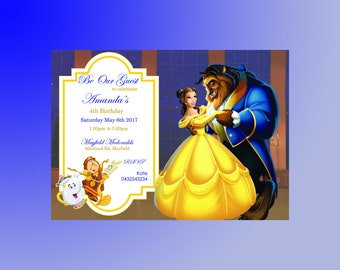 """Professionally Printed Beauty & The Beast Invitations """"Plus FREE Thank You Card"""".  Also available as a Printable JPEG file!"""