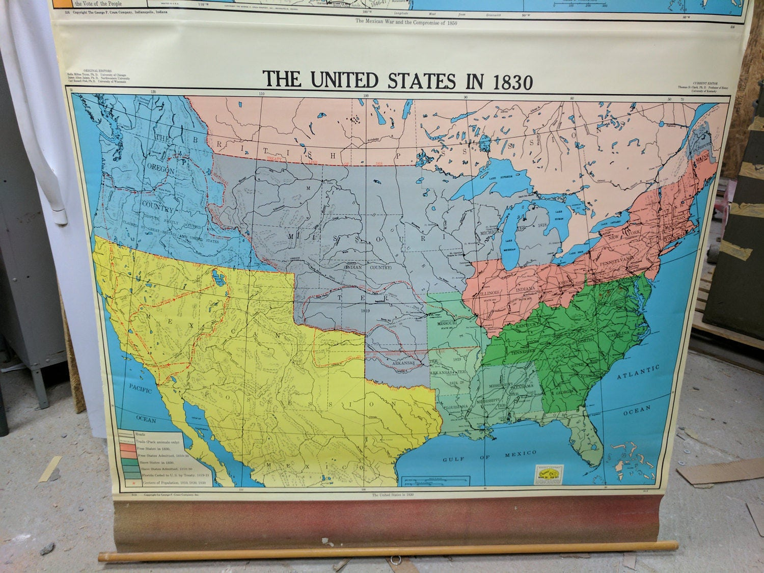 Vintage Classroom School Map US Map - Map of the us in 1830