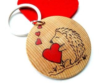 Valentines Day, Hedgehog Keyring, Valentine Gift, Gift For Him, Personalised Keychain, Gift for Her, Hedgehog Lover Gift, Keyring Boyfriend