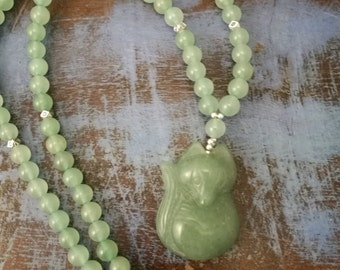 Green fox necklace, Fox Pendant, Stone Fox Necklace, Beaded Necklace