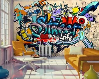 Photo Wallpaper Wall Murals Non Woven Graffiti Street Life Modern Design  Wall Decals Bedroom Decor Home