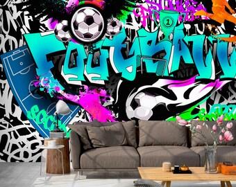 soccer wallpaper etsy. Black Bedroom Furniture Sets. Home Design Ideas