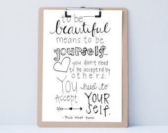 To Be Beautiful : Hand Lettered Print / Typography Art / Girl Daughter Sister Gift / Be Yourself / Modern Calligraphy Wall Hanging Present