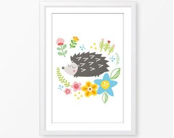 Hedgehog illustration,children's wall art,instant download,girls room print,nursery art,wall art digital file,kids poster,nursery decor
