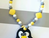 Penguin Teether Toy- Wood Teethers - Personalized Baby Shower Gift - Customizable Baby Gift - Unique Baby Shower Gift - Unique Baby Gift