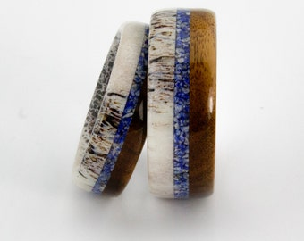 Deer Antler Wedding Ring Set With Lapis Lazuli and  Mahogany wood Inlay/ Handmade Rings/Deer Rings
