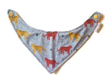 Bandanna bib, bibdanna, tiger bandanna baby bib, trendy baby bib, baby gift, baby accessories, new mom gift, drool bib, baby bib
