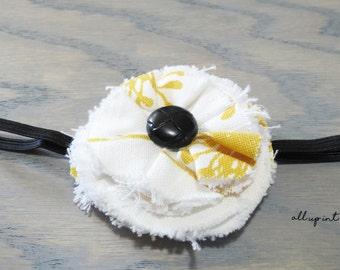 Rustic Baby Headband - White Baby Headband - White Flower Headband
