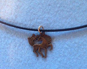 Bronze mystic horse charm cord necklace