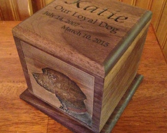 Custom Personalized Wooden Pet Memorial Urn with Carved Photograph and Engraving