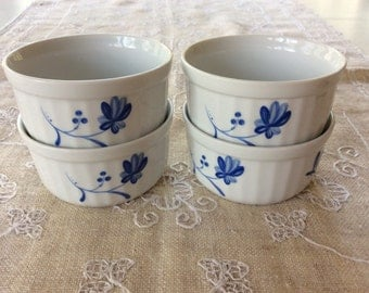 """Vintage Royal Worcester """"Blue Bow"""" Ramekin Dishes / Set of 4 / Free Shipping"""